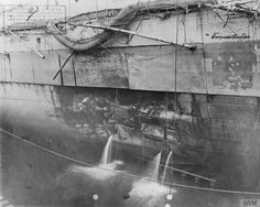 June 13, 1916 - Torpedo damage to German battlecruiser Seydlitz, in drydock at Wilhelmshaven, after the Battle of Jutland.