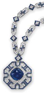 Elizabeth Taylor's Bulgari Sapphire and Diamond Sautoir - 52.72 ct sugarloaf sapphire cabochon in pendant - $5.9 at auction
