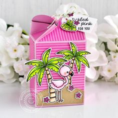 Sunny Studio Stamps: Wrap Around Box Dies Fabulous Flamingos Sending Sunshine Backyard Bugs Sunny Sentiments Treat Boxes by Leanne West and Eloise Blue Tiny Tags, Tiddly Inks, Sunnies Studios, Clouds Pattern, Pink Cards, Tiny Flowers, Wrap, Clear Stamps, Pattern Paper
