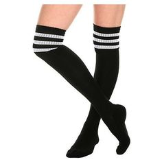 Black And White Cushioned Knee-High Crew Socks Hot Topic ❤ liked on Polyvore featuring intimates, hosiery, socks, crew cut socks, knee high socks, crew length socks, knee high hosiery and cushioned socks