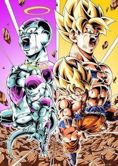 Ssj goku and Frieza Dragon Ball Gt, Dragon Ball Image, Goku Vs Jiren, Dbz Vegeta, Animes Wallpapers, Vampires, Anime Art, Neon, Otaku