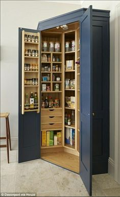 The Holkham corner pantry provides storage for all the family's dried food. - The Holkham corner pantry provides storage for all the family's dried food. A combination of draw - Kitchen Pantry Design, New Kitchen Cabinets, Kitchen Organization, Kitchen Storage, Kitchen Decor, Pantry Storage, Organization Ideas, Kitchen Ideas, Kitchen Craft