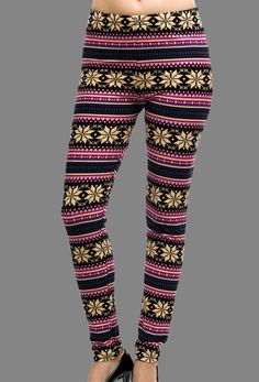 .Brushed Soft Legging with Holiday Snowflake Fair Isle Screen Print (Multi Color)