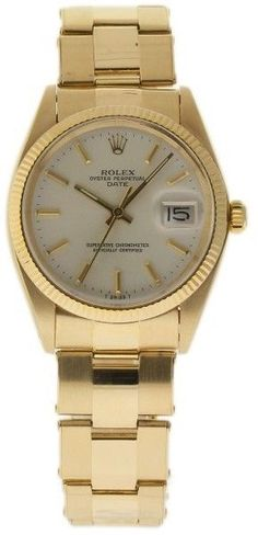 Rolex Date 1503 Yellow Gold Vintage Unisex Watch Rolex Oyster Perpetual Date, Rolex Date, Luxury Watch Brands, Popular Watches, Pre Owned Watches, Gold Box, Fashion Watches, Oysters, Gold Watch