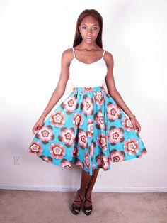 Bold Bright African Ankara Floral Wax Print Super Full Waist Skirt