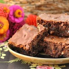 Fudge brownies with that crusty top is chocolate heaven.