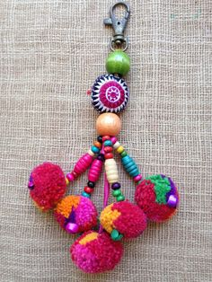 Hmong fabric beaded pompom charm cute charming hilltribe bag crafts