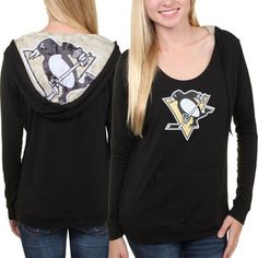 Women's Pittsburgh Penguins Black Sublime Long Sleeve Hooded Sweater