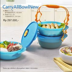 Carry All Bowl 64 STARS  Terdiri dari: a. Bowl 1 L (2) @1000ml/Ø:21, t:6.4cm b. Bowl 1,5 L (1) 1500ml/Ø:21, t:9.1cm *Sebelum menghangatkan di microwave, buka cap Carry All Bowl  –Carry All Bowl praktis dibawa dan dapat langsung dihangatkan dala microwave sekaligus untuk disajikan. -Cantik untuk penyajian -Nyaman untuk dibawa