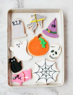 Shaped and decorated Halloween cookie recipe (good for Christmas cookies too!)