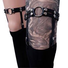 pastel goth Rivet 2016 Plus size dress garter belt harness Rcok leg ring vintage Harajuku lady leather Leg Garters