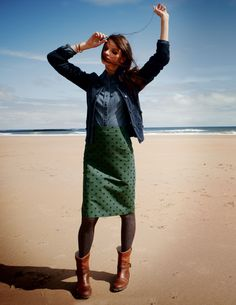 Printed A-Line Skirt: Love combining the denim shirt with a skirt and boots.  #boden #fromlondonwithlove
