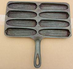 74 H Vintage Cast Iron 8 piece Corn Cob Mold Corn Bread Pan Skillet USA