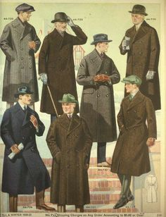 Men's Coats from a 1920 catalog - Men's style, accessories, mens fashion trends 2020 20s Fashion, Fashion History, Look Fashion, Vintage Fashion, Fashion Outfits, Fashion Trends, Fashion Coat, Victorian Fashion, Fashion Styles