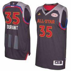 $22 Men's Warriors #35 Kevin Durant adidas Charcoal 2017 NBA All-Star Game Replica Jersey