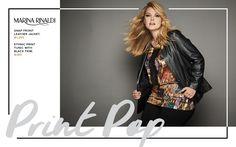 Toni Plus Fall 2016 Lookbook - Marina Rinaldi Ethnic Print, Black Trim, Fall 2016, Plus Size Fashion, Autumn Fashion, Tunic, Branding, Leather Jacket, How To Wear