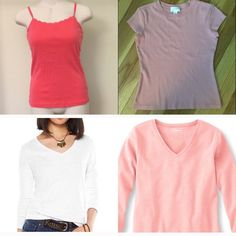 ⭐️ Basic Tops Bundle! ⭐️ Get four great tops for one great price! These tops are all great to wear on their own, but also work very well as layering pieces. Essential tees for any wardrobe! See individual listings for complete product description. Tops