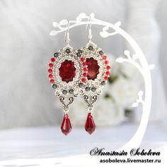 "Handmade earrings.  Fair Masters - handmade earrings with Swarovski crystals and pendants ""Last Tango.""  Handmade."