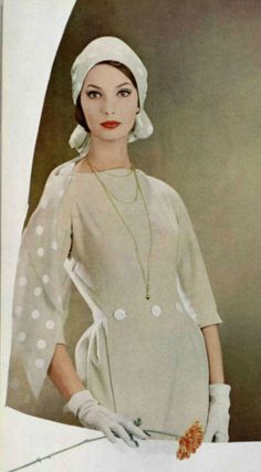 1958 Dress/ Lanvin 50s 60s tan white sheath dress hat turban gloves buttons dots color photo print ad model magazine vintage fashion style