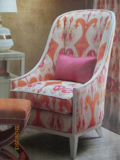 chair in white with bold colors