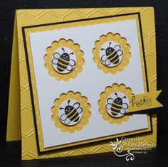 SU! Spring Sampler and A Word for You(sentiment) stamp sets; Brights DSP paper pack; colors are Whisper White, Basic Black and Daffodil Delight.  She has a YouTube video with a tip on lining up the punches - Mary Brown