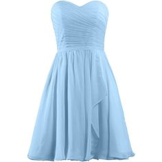 ANTS Women's Sweetheart Short Bridesmaid Dresses Chiffon Wedding Party... ($40) ❤ liked on Polyvore featuring dresses, blue cocktail dress, chiffon dress, blue dress, short chiffon dress and bridesmaid dresses