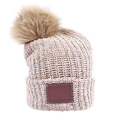 00c3c0eacf7 This pom beanie is knit out of cotton yarn in natural and brown colors. It  features a brown leather patch that is debossed with the Love Your Melon  logo and ...