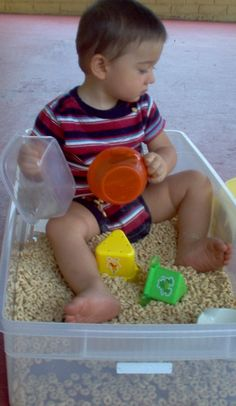 Sensory Play...Use different materials. Very good for children with Sensory Integration issues.