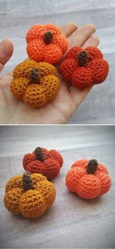 Autumnal Colorful Crochet Pumpkins. These adorable little pumpkins will be a lovely lucky charm for all you fall lovers out there! Even when Haloween is over, you can hang this cutie on your purse and feel the autumn vibe all year long. Feel free to use up any leftover yarn for these. #freecrochetpattern #amigurumi #pumpkin