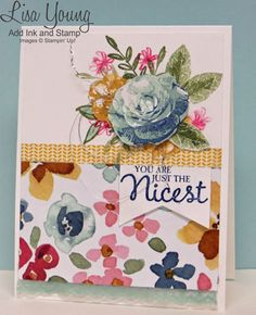 Stampin' Up! Picture Perfect stamp set. What I love stamp set. English Garden designer paper. Handmade card by Lisa Young, Add Ink and Stamp