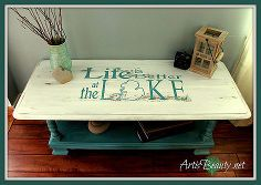 beach house beauty life is better at the lake coffee table makeover, painted furniture, My finished life is better at the lake Coffee Table springideas firstdayofspring beachhouse lakehouse