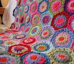 Crochet Hexagon Blanket.