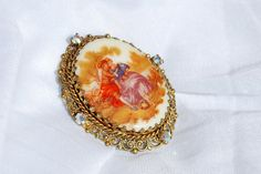 Signed West German Fragonard Painting Ceramic Brooch by TheSoul