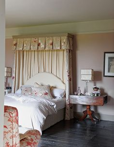 """A pretty floral palette pops against black-painted floors in the guest bedroom, nicknamed the """"Dead Salmon"""" bedroom for the Farrow & Ball paint on the walls: Small Shared Bedroom, Small Modern Bedroom, Small Bedroom Designs, Beautiful Bedrooms, Small Bedrooms, Glamorous Bedrooms, Country Bedrooms, Bedroom Pictures, Bedroom Images"""