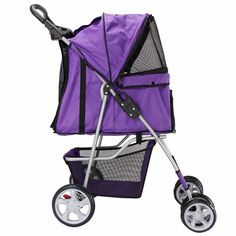 4 Wheels Pet Stroller Cat Dog Cage Stroller Travel Folding Carrier (Purple):Newpng by WW shop >>> For more information, visit now : Dog strollers