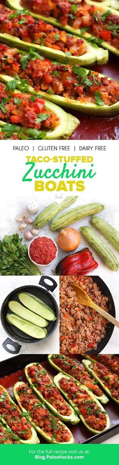 For A Low-Carb, Taco-Inspired Meal, Swap Tortillas For Light, Crunchy Zucchini With These Taco-Stuffed Zucchini Boats Get The Recipe Here: Http:Paleo. Taco Stuffed Zucchini, Zucchini Boats, Zucchini Noodles, Low Carb Tacos, Vegetarian Paleo, Paleo Dinner, Diet Meal Plans, Whole 30 Recipes, Paleo Recipes