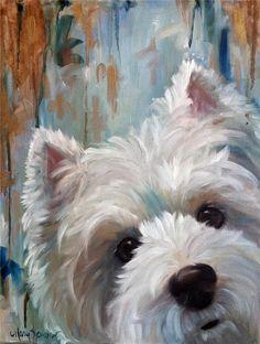 Sparrow Westie West Highland Terrier Dog White Puppy Ball Oil Portrait Painting | eBay