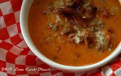 24/7 Low Carb Diner: Among Friends Thursday --My Bacon Cheeseburger Soup and Jennifer's Cheese Biscuits
