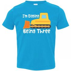 Inktastic Little Boys 3 Year Old Birthday Bulldozer Toddler T Shirt 2T Turquoise Jack