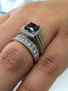 2.59ct Princess Black Lab Diamond Bridal Set Engagement Ring White Gold Finish #Beijojewels #Engagement