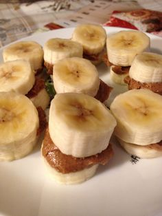 Banana bites with almond butter, can freeze for weekly snacks