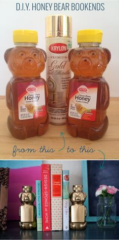 diy honey bear bookends - cute idea and super cheap!