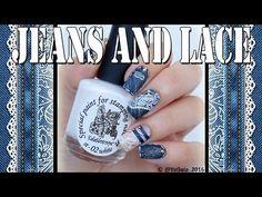 Jeans and lace nails / Джинсовый дизайн ногтей - YouTube