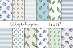 """Digital Paper """"Berries & leaves"""" by MyLittleMeow on @creativemarket"""
