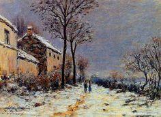 Alfred Sisley Seasore Paintings   Alfred Sisley effet de neige à veneux Reproduction de Tableaux Copie ...
