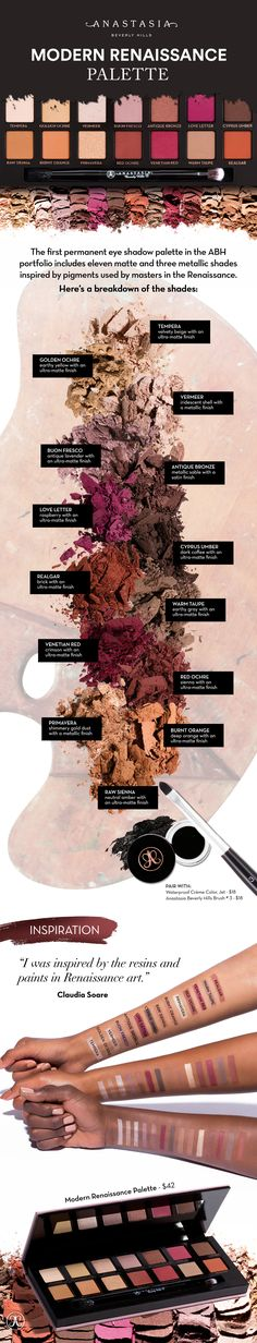 An essential eye shadow collection featuring 14 shades, including neutral and berry tones. Use Anastasia Beverly Hills first permanent palette, Modern Renaissance to create endless looks for daytime and evening.