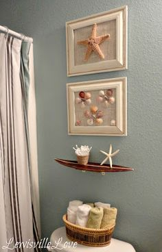 Lewisville Love: Beach Theme Bathroom Reveal - looks like what I am tryng to do with my bathroom!!!!   Great ideas!
