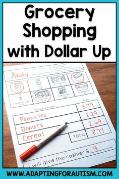 Bring grocery shopping skills in your special education classroom with these life skills worksheets! Practice skills like dollar up, store aisles, produce scales, using a shopping list and more. These no prep worksheets help students practice skills Life Skills Lessons, Life Skills Activities, Life Skills Classroom, Teaching Life Skills, Classroom Ideas, Seasonal Classrooms, Teaching Tips, Teaching Reading, Special Education Activities