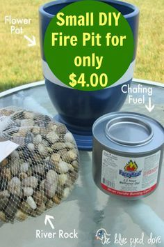 DIY your own small fire pit for only $4.00.  Perfect for outdoor entertaining and summer nights.
