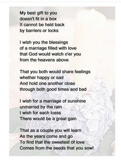 Wedding Shower Gift From Mother To Daughter : mother to son wedding day poems to my son s bride my son is such a ...